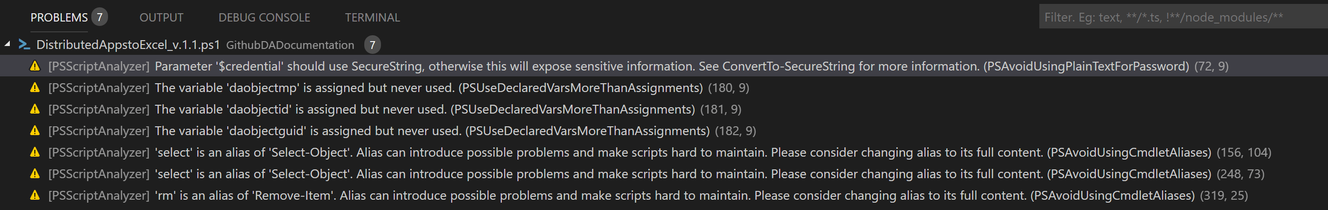 visual studio code powershell problems