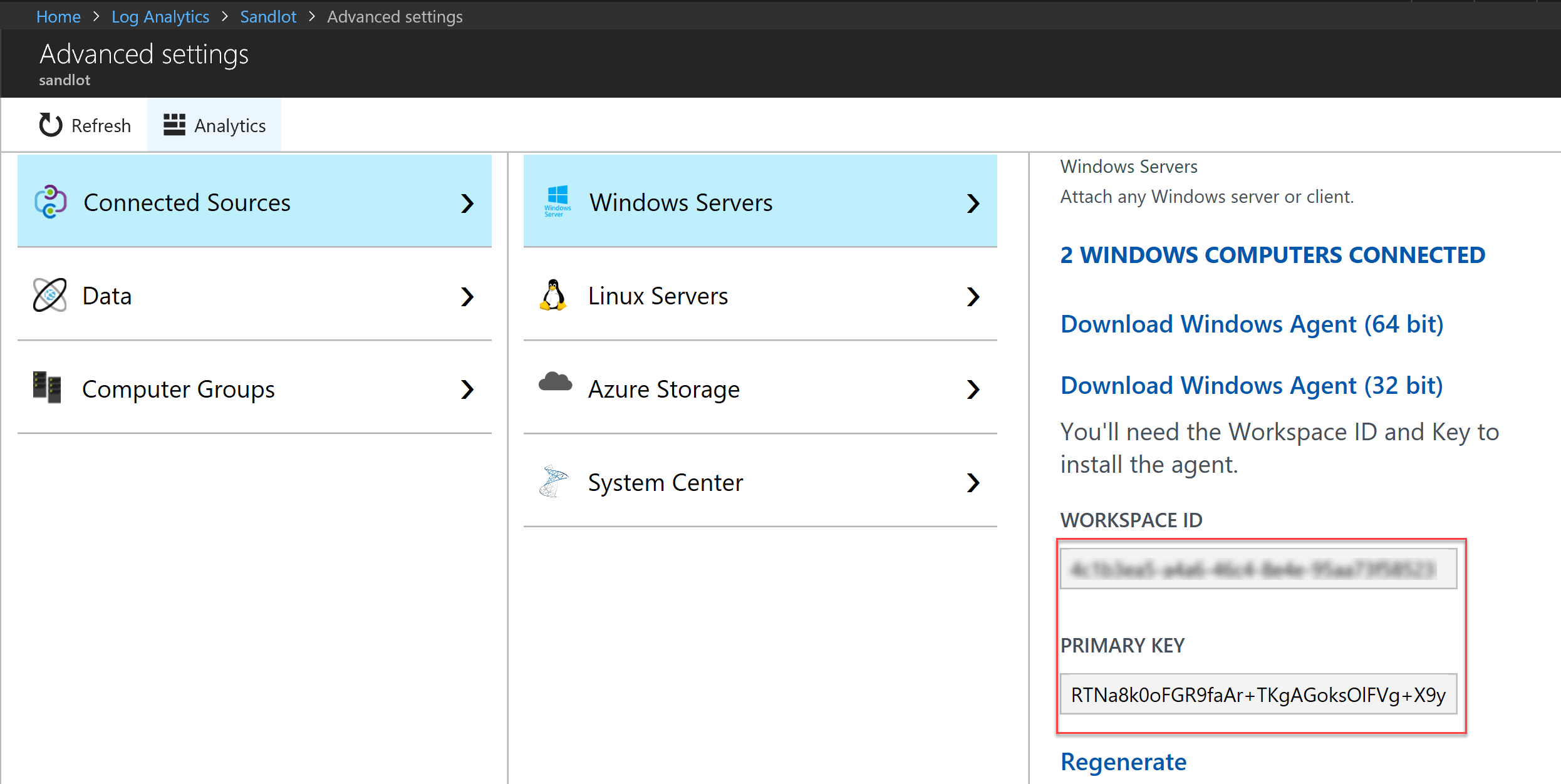 azure log analytics workspace key