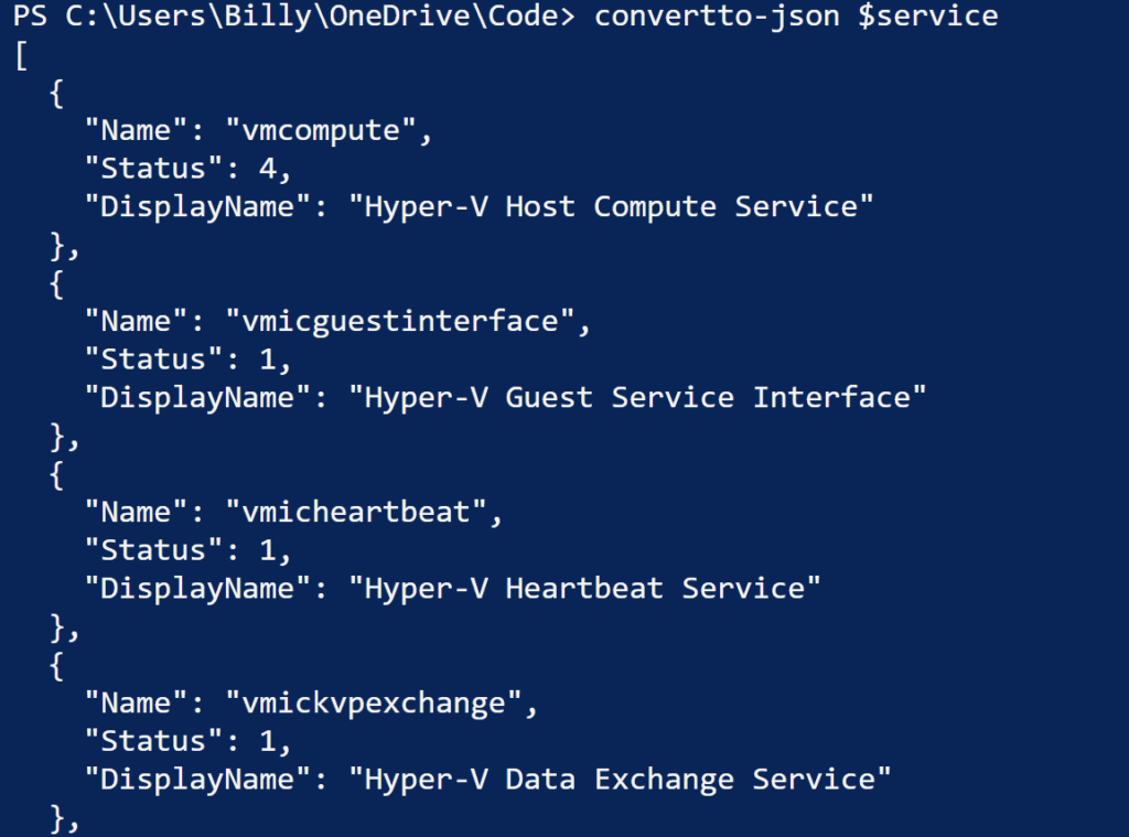 building JSON payload in powershell