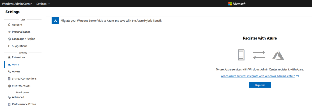 Azure ARC Windows Admin Center