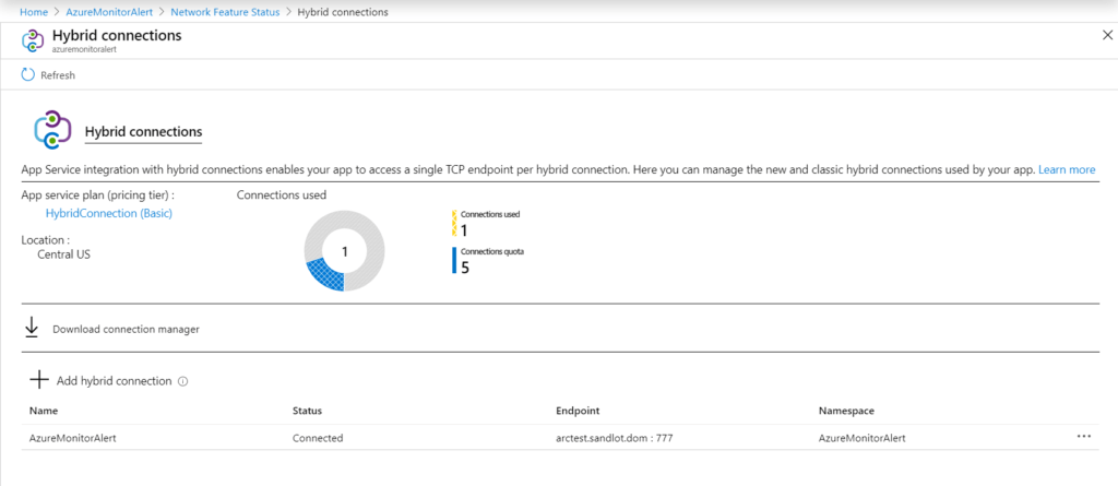 PowerShell Azure Function Hybrid Connection