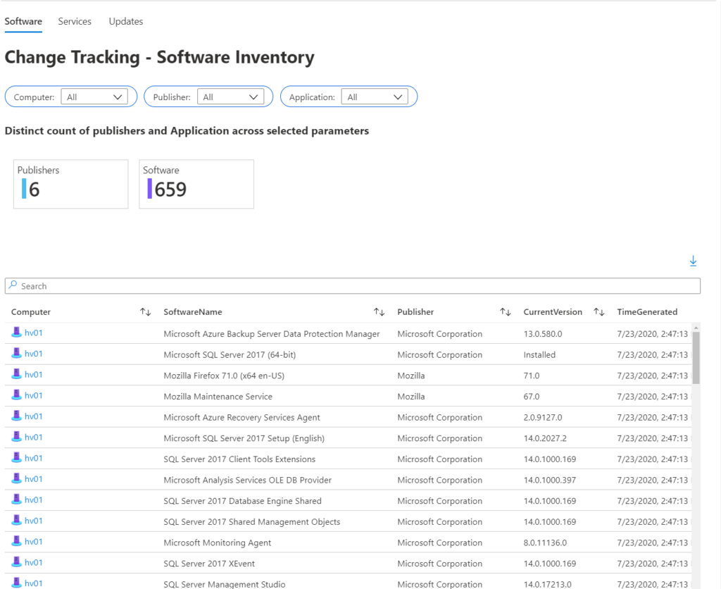 Azure Monitor Change Tracking Workbook