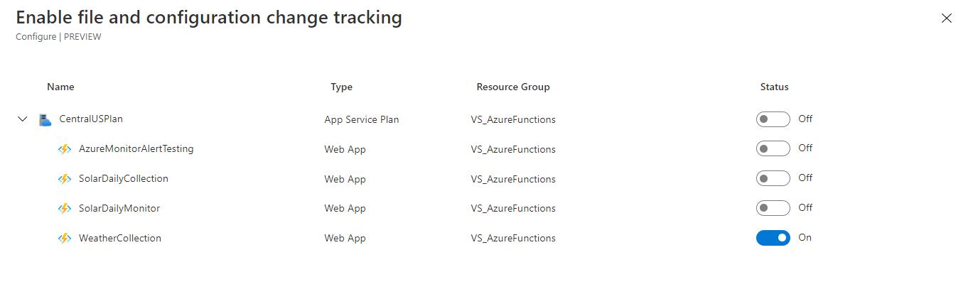 setup in app change tracking