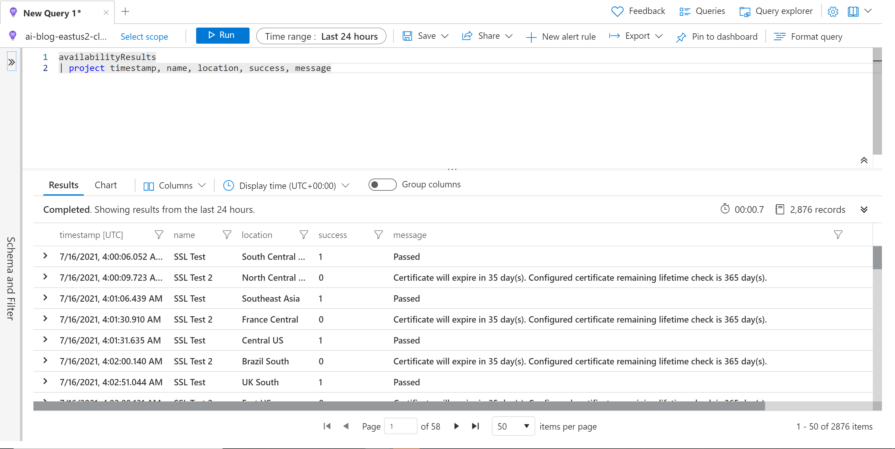 Monitor SSL Certificate Azure Monitor